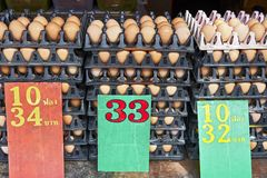 Brown eggs piled-up at the Klong Toey Market in Bangkok royalty free stock images