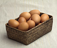 Brown eggs in a pleated basket. Royalty Free Stock Image
