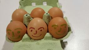 Brown eggs. Six farm fresh brown eggs with painted faces in green egg box Stock Photography