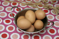 Brown Eggs. Some raw brown eggs in a bowl Royalty Free Stock Images