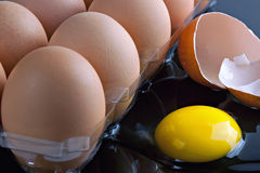Brown eggs in tray with cracked egg Royalty Free Stock Images