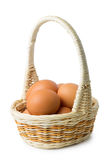 Brown eggs in wicker basket with long handle Stock Image