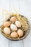 Brown eggs in a wicker basket. Brown eggs on a straw bedding in a wicker basket with white wooden background Royalty Free Stock Photos