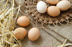 Brown eggs in a wicker plate and sackcloth. Background Royalty Free Stock Photo