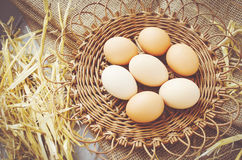 Brown eggs in a wicker plate. With wooden and sackcloth background Royalty Free Stock Photos
