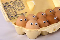 Brown Eggs With Silly Eyes Stock Image