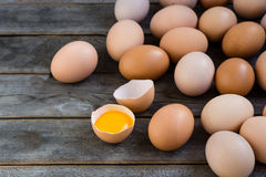 Brown eggs on the wooden grey table. In a farm Royalty Free Stock Image