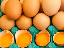 Brown Eggs and Yolks Royalty Free Stock Photography