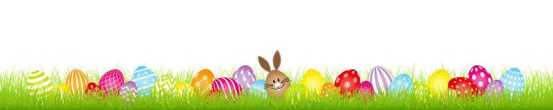 Brown-Ei-Bunny And Twenty Eight Colorful-Easter Egg-Wiesen-Fahne lizenzfreie abbildung