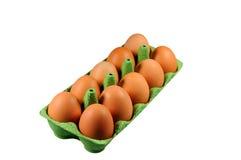 Brown-Eier im grünen Behälter Lizenzfreies Stockbild