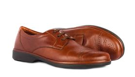 The brown elegant men's shoes Stock Photo