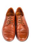 The brown elegant men's shoes Stock Photos