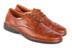 The brown elegant men's shoes Stock Images