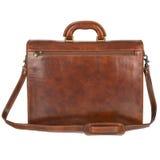 Brown elegante, cartella di cuoio moderna con stile professionale isolata su fondo bianco Fotografia Stock