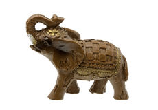 Brown Elephant Figurine on white Stock Image