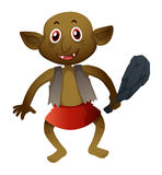 Brown elf with hammer. Illustration Royalty Free Stock Images