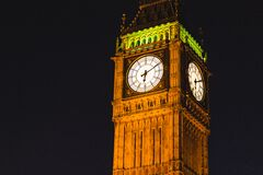 Brown Elizabeth Tower during Night Time Royalty Free Stock Photography