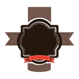 Brown emblem with red ribbon and symbols icon. Illustraction design Stock Photo