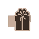 Brown emblem sticker box with bow ribbon icon Royalty Free Stock Images