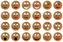 Brown emoticons set or collection Royalty Free Stock Images