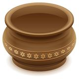 Brown empty clay ceramic pot Royalty Free Stock Photography