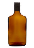 Brown empty liqueur bottle isolated on a white Royalty Free Stock Image