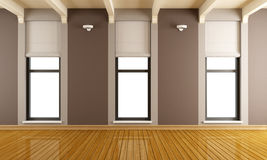 Brown empty room with three windows Stock Image