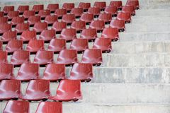 Brown empty stadium seats in arena. Old and dirty  concept Stock Photo
