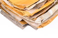 Brown envelope and cardboard box for recycling Stock Photo