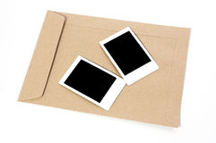 Brown Envelope document and Frame. On white background Royalty Free Stock Image