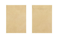 Brown envelope front and back isolate on white background, Clipp Royalty Free Stock Images