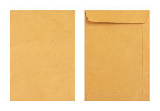 Brown envelope front and back isolate on white background, Clipp Royalty Free Stock Photography