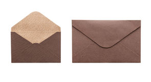 Brown envelope isolated on white background Royalty Free Stock Images