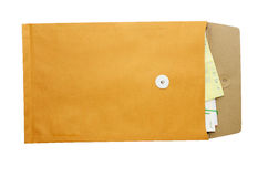 Brown Envelope Open. The documents in the envelope royalty free stock photos