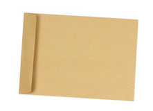 Brown envelope open on a white background. Royalty Free Stock Photography