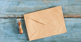 Brown envelope with a stamp Stock Photography