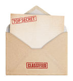 Brown Envelope with top secret stamp, clipping path. Stock Photography