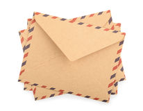 Brown Envelopes isolated. close up Stock Image