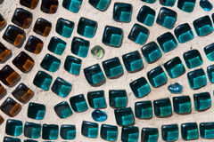 Brown et Aqua Glass Mosaic Texture Photos stock
