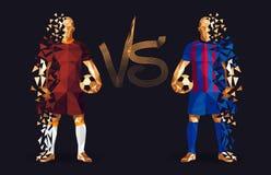 Brown et footballeurs bleus tenant les football de vintage, represe illustration stock