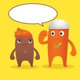 Brown et personnage de dessin animé orange de monstre Photos stock