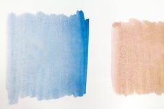 Brown et texture bleue de peinture d'aquarelle sur le fond blanc Images libres de droits