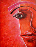 Brown eye. Woman portrait. Acrylic on canvas Royalty Free Stock Photo