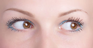 Brown eye. Of girl - glance aside Royalty Free Stock Photo