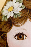 Brown eye doll. Close up of the eye of a cloth doll Stock Photography