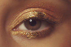 Brown Eye with Gold Eye Shadow Royalty Free Stock Photography