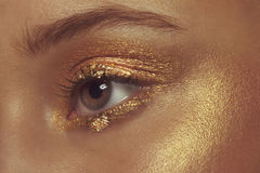Brown Eye with Gold Eye Shadow Stock Image