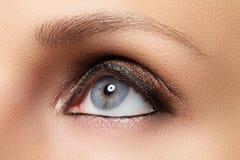 Brown eye makeup. Eyes Make-up. Vintage style make up Royalty Free Stock Images