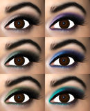 Brown eye makeup. In eyeshadows that best match, enhance or complement the brown iris.Set of eyeshadows for brown eyes Stock Photo