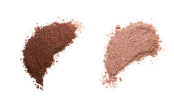 Brown eye shadows. Brown eyeshadows  samples on the white background Royalty Free Stock Photos